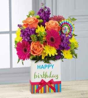 Birthday flowers with card